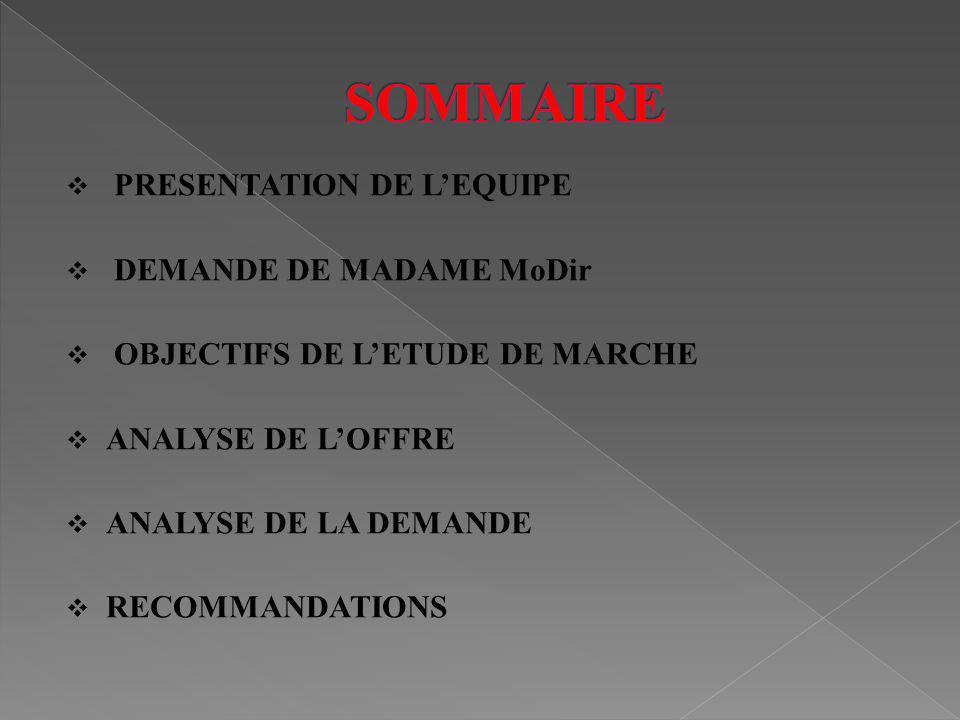 PRESENTATION DE LEQUIPE DEMANDE DE MADAME MoDir OBJECTIFS DE LETUDE DE MARCHE ANALYSE DE LOFFRE ANALYSE DE LA DEMANDE RECOMMANDATIONS
