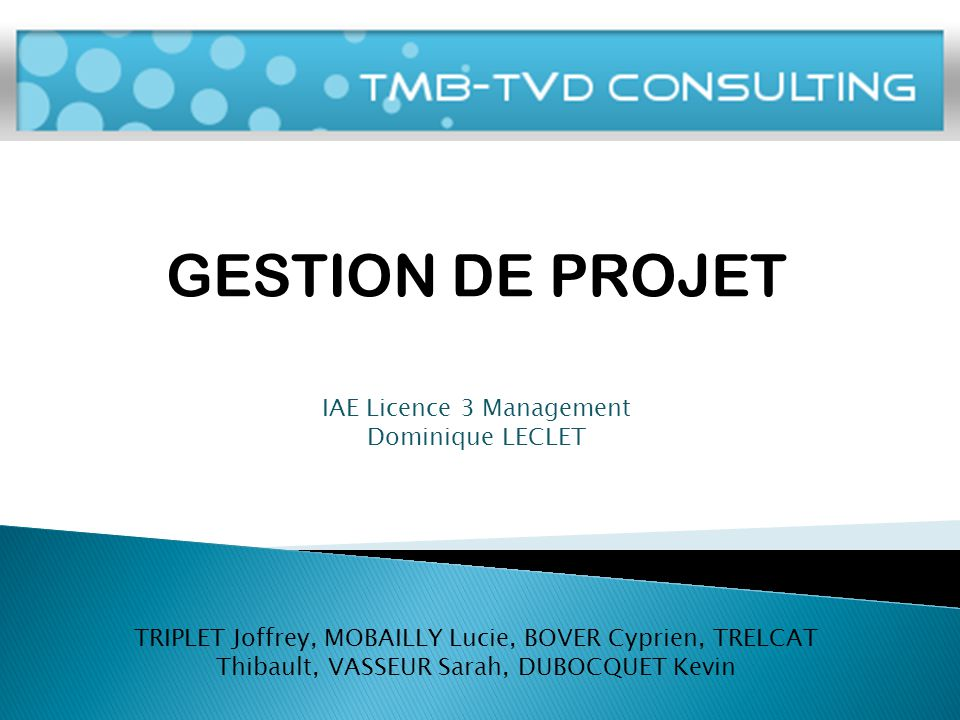 M GESTION DE PROJET IAE Licence 3 Management Dominique LECLET TRIPLET Joffrey, MOBAILLY Lucie, BOVER Cyprien, TRELCAT Thibault, VASSEUR Sarah, DUBOCQUET Kevin