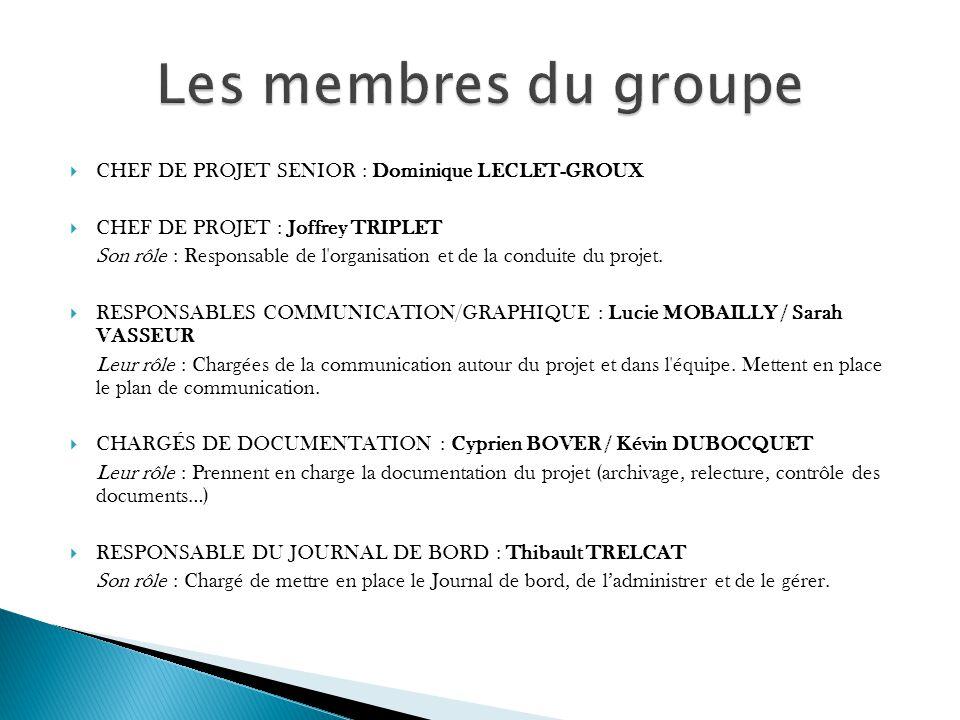 CHEF DE PROJET SENIOR : Dominique LECLET-GROUX CHEF DE PROJET : Joffrey TRIPLET Son rôle : Responsable de l organisation et de la conduite du projet.