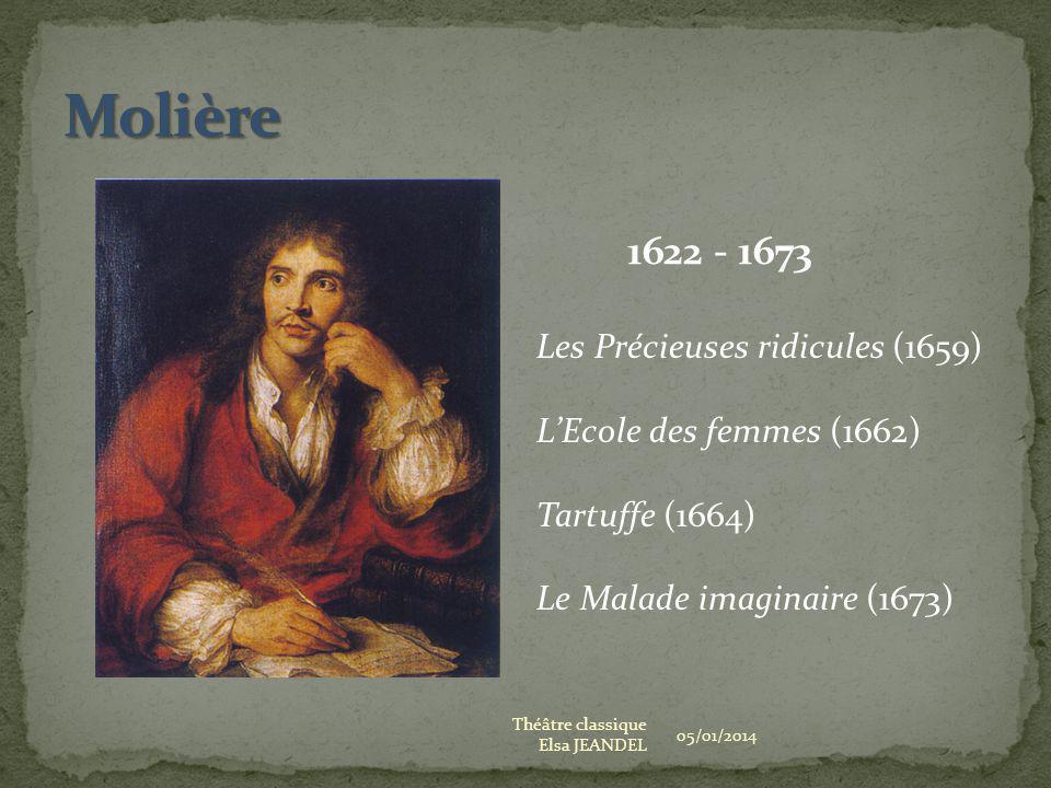 05/01/2014 Théâtre classique Elsa JEANDEL 1622 - 1673 Les Précieuses ridicules (1659) LEcole des femmes (1662) Tartuffe (1664) Le Malade imaginaire (1