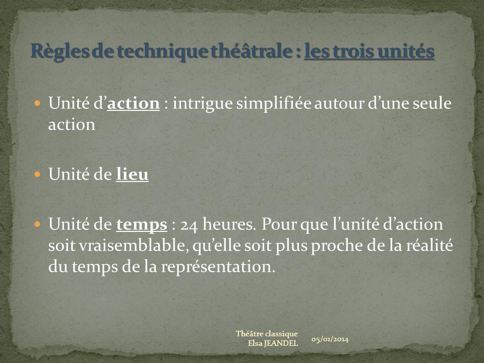 Unité daction : intrigue simplifiée autour dune seule action Unité de lieu Unité de temps : 24 heures. Pour que lunité daction soit vraisemblable, que