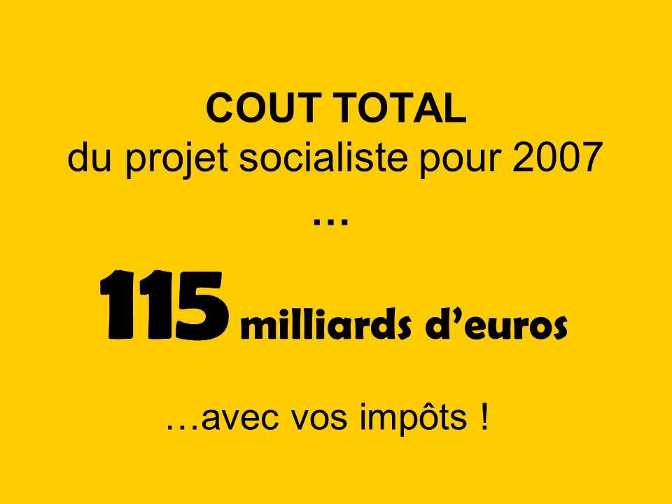 COUT TOTAL du projet socialiste pour 2007 …avec vos impôts ! 115 milliards deuros 115 …