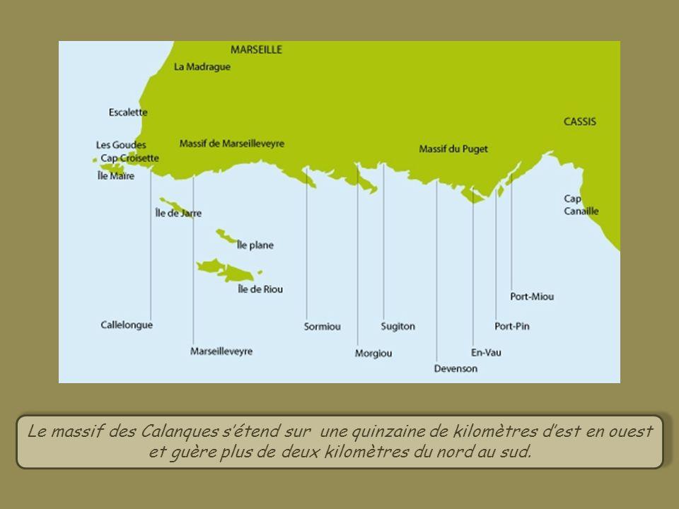Le massif des Calanques sétend sur une quinzaine de kilomètres dest en ouest et guère plus de deux kilomètres du nord au sud.