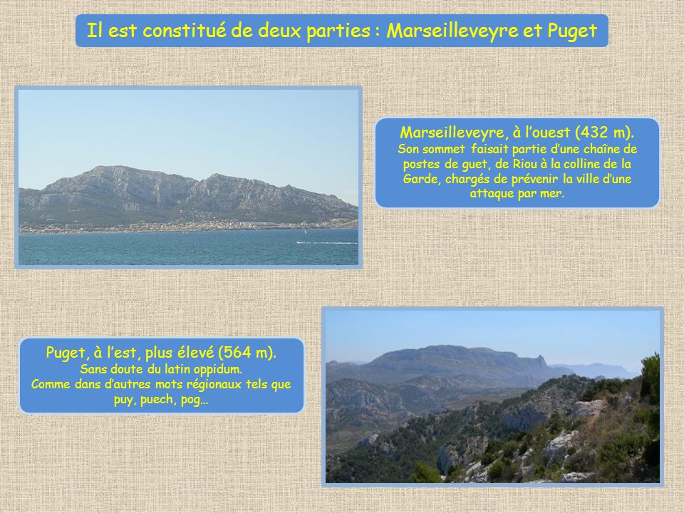 Il est constitué de deux parties : Marseilleveyre et Puget Marseilleveyre, à louest (432 m).