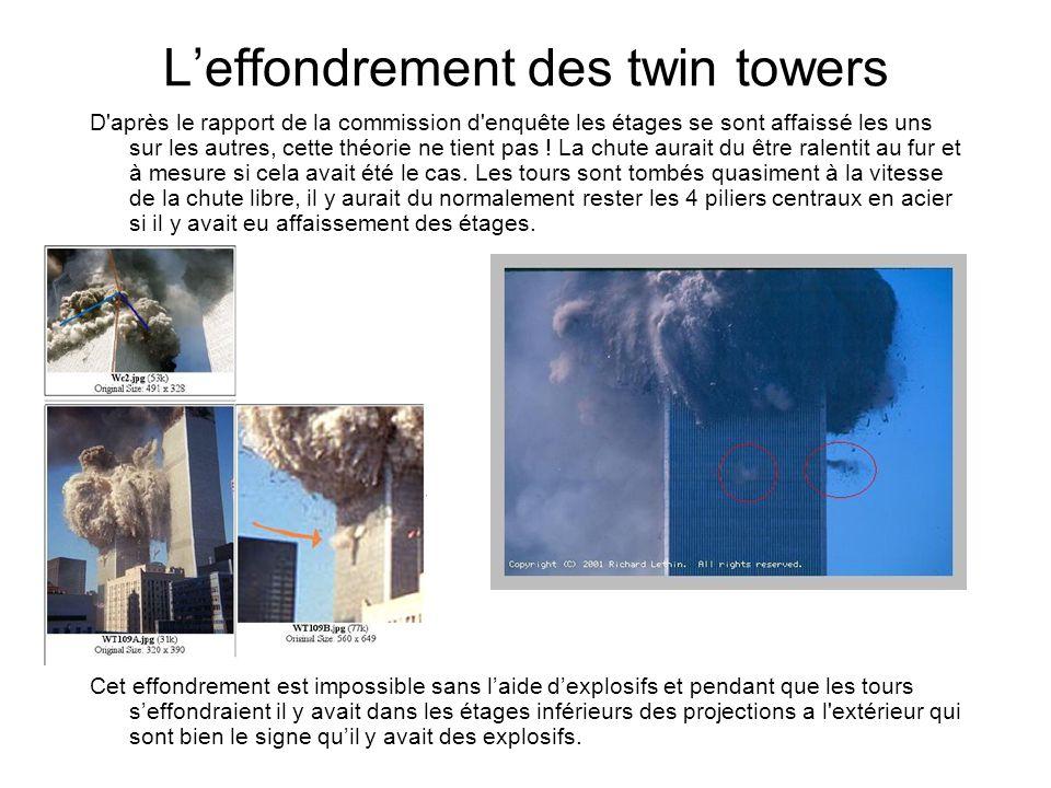 Leffondrement des twin towers D après le rapport de la commission d enquête les étages se sont affaissé les uns sur les autres, cette théorie ne tient pas .