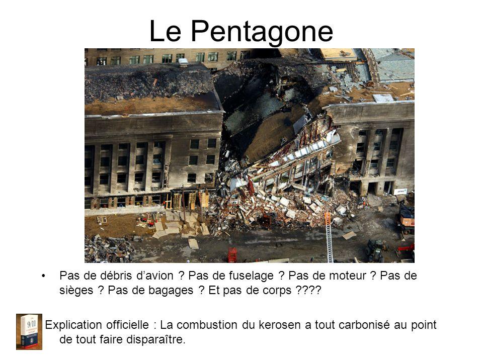 Le Pentagone Pas de débris davion . Pas de fuselage .