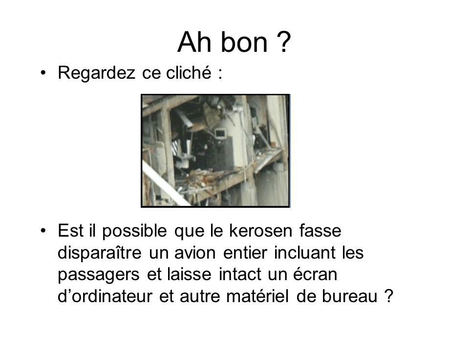 Ah bon ? Regardez ce cliché : Est il possible que le kerosen fasse disparaître un avion entier incluant les passagers et laisse intact un écran dordin