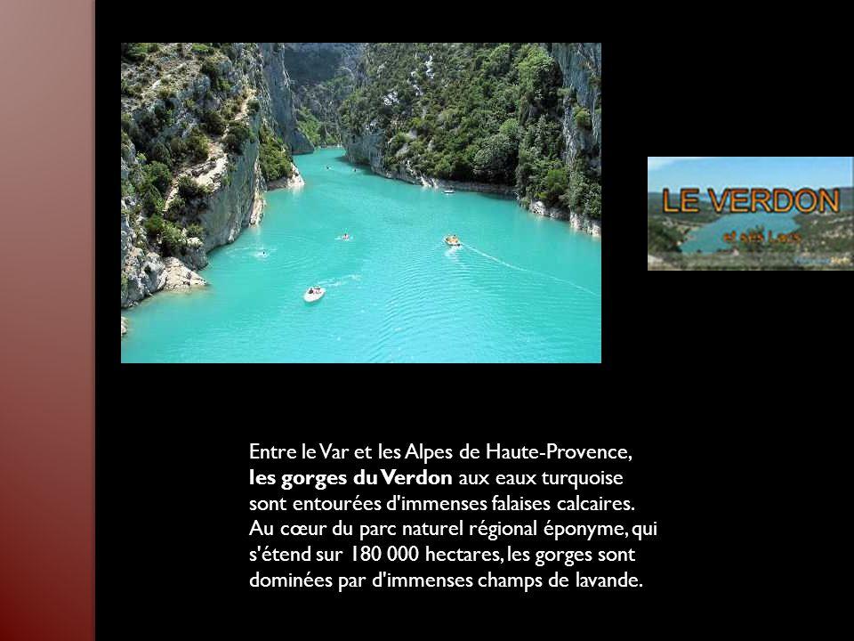 Entre le Var et les Alpes de Haute-Provence, les gorges du Verdon aux eaux turquoise sont entourées d immenses falaises calcaires.