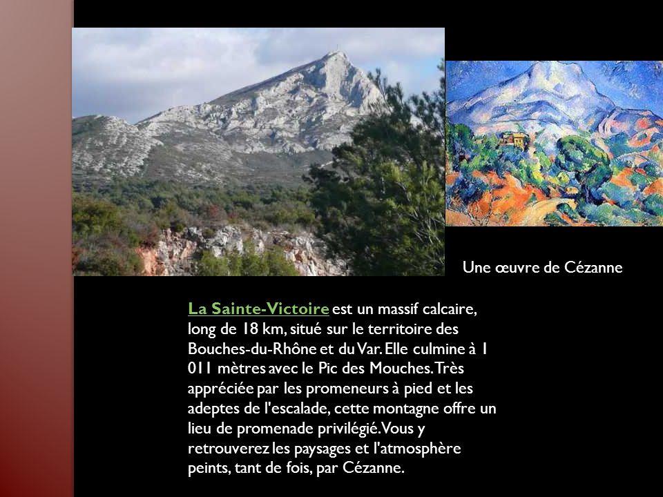 La Sainte-VictoireLa Sainte-Victoire est un massif calcaire, long de 18 km, situé sur le territoire des Bouches-du-Rhône et du Var.