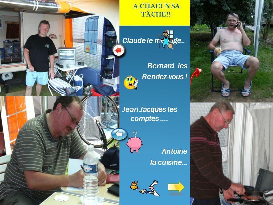 Claude le ménage.. Bernard les Rendez-vous . Jean Jacques les comptes ….