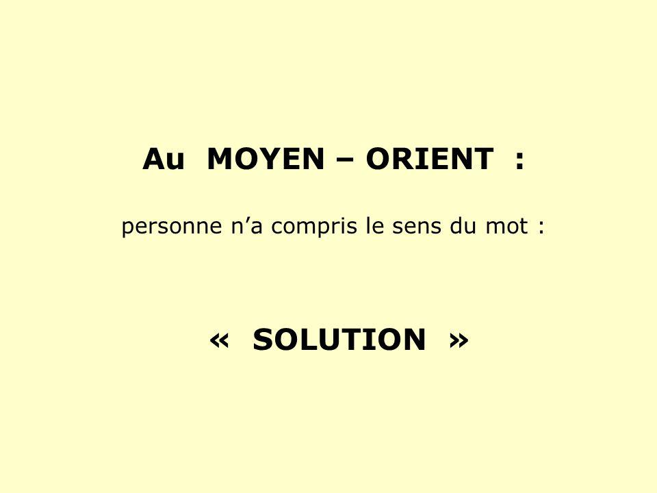 Au MOYEN – ORIENT : personne na compris le sens du mot : « SOLUTION »