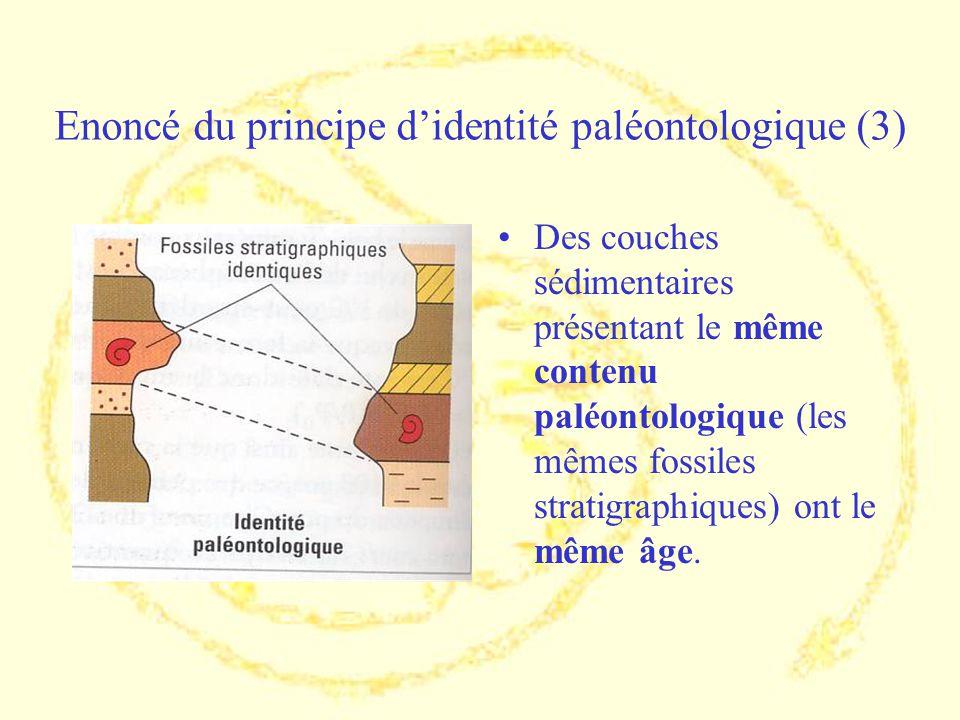 Enoncé du principe didentité paléontologique (3) Des couches sédimentaires présentant le même contenu paléontologique (les mêmes fossiles stratigraphi