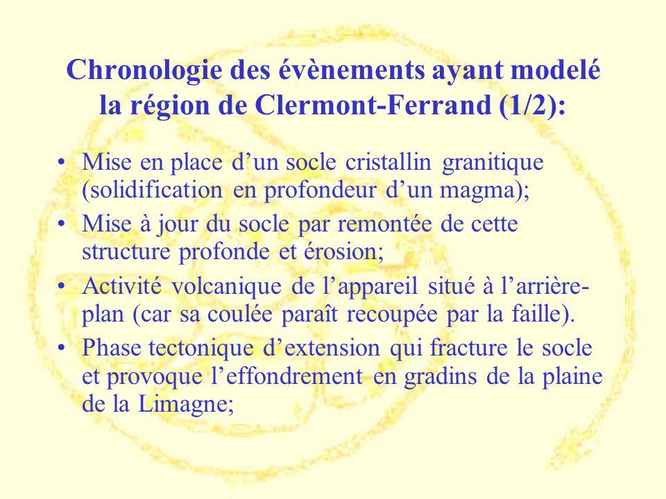 Chronologie des évènements ayant modelé la région de Clermont-Ferrand (1/2): Mise en place dun socle cristallin granitique (solidification en profonde