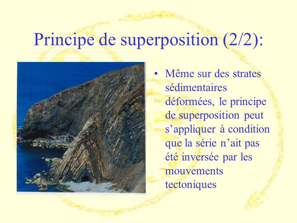 Principe de superposition (2/2): Même sur des strates sédimentaires déformées, le principe de superposition peut sappliquer à condition que la série n