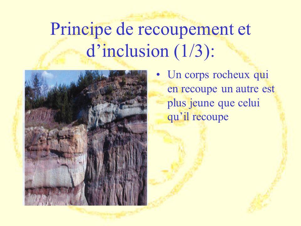 Principe de recoupement et dinclusion (1/3): Un corps rocheux qui en recoupe un autre est plus jeune que celui quil recoupe