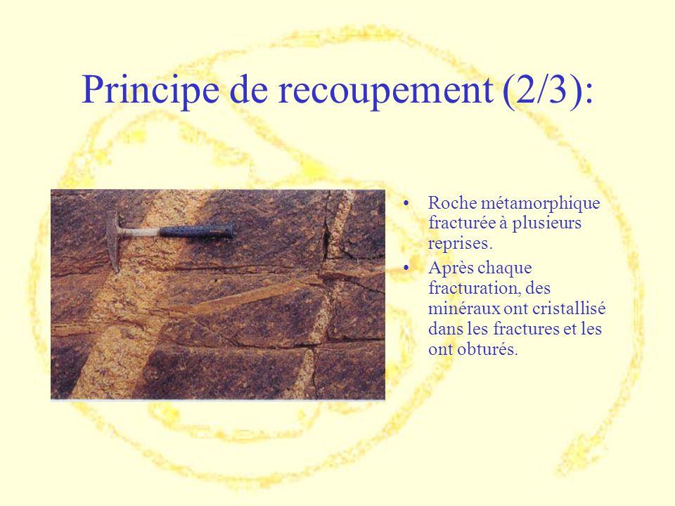 Principe de recoupement (2/3): Roche métamorphique fracturée à plusieurs reprises. Après chaque fracturation, des minéraux ont cristallisé dans les fr