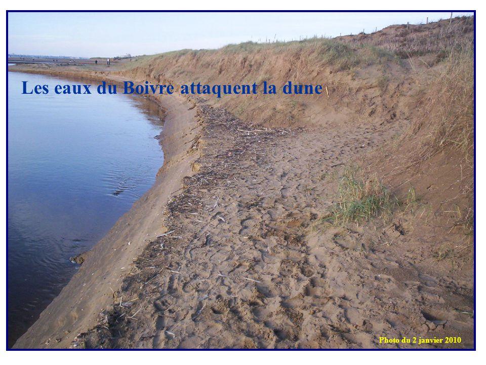 Les eaux du Boivre attaquent la dune Photo du 2 janvier 2010