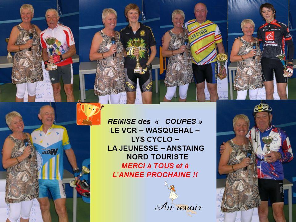 REMISE des « COUPES » LE VCR – WASQUEHAL – LYS CYCLO – LA JEUNESSE – ANSTAING NORD TOURISTE MERCI à TOUS et à LANNEE PROCHAINE !!