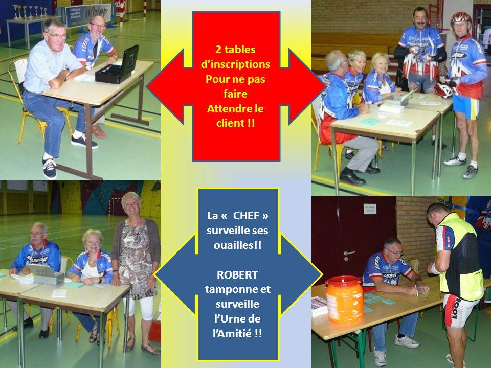 2 tables dinscriptions Pour ne pas faire Attendre le client !! La « CHEF » surveille ses ouailles!! ROBERT tamponne et surveille lUrne de lAmitié !!