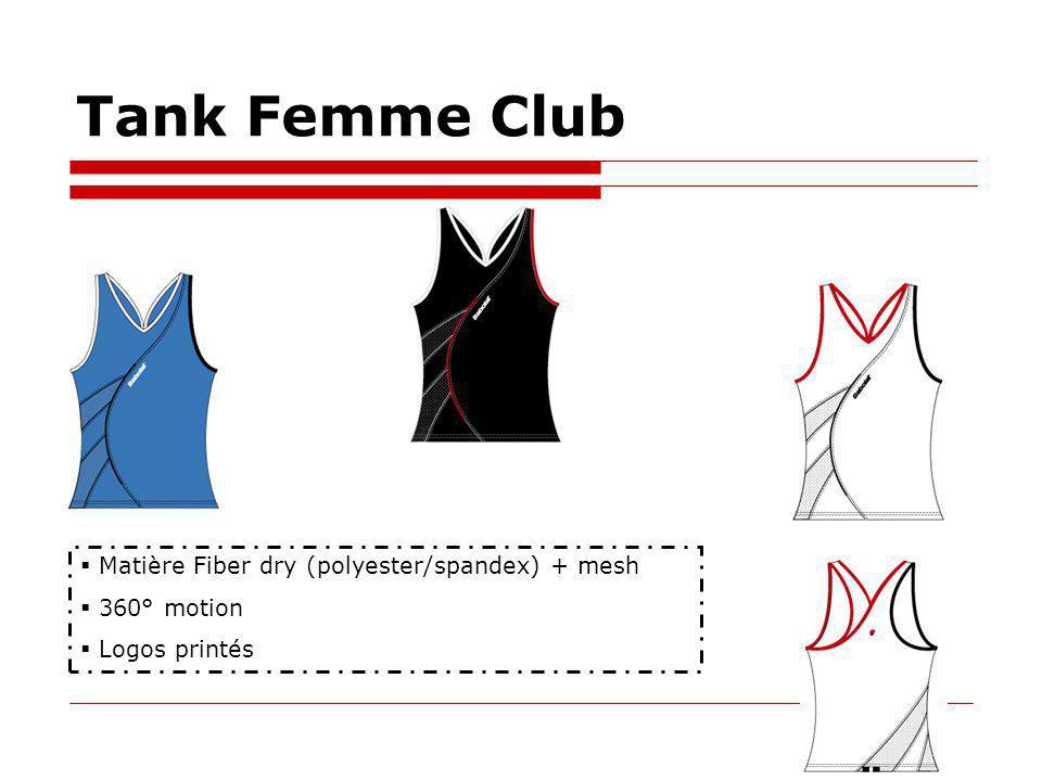 Tank Femme Club Matière Fiber dry (polyester/spandex) + mesh 360° motion Logos printés
