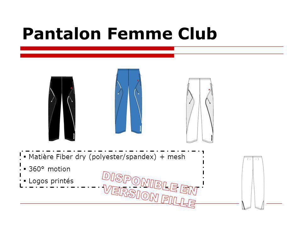 Pantalon Femme Club Matière Fiber dry (polyester/spandex) + mesh 360° motion Logos printés
