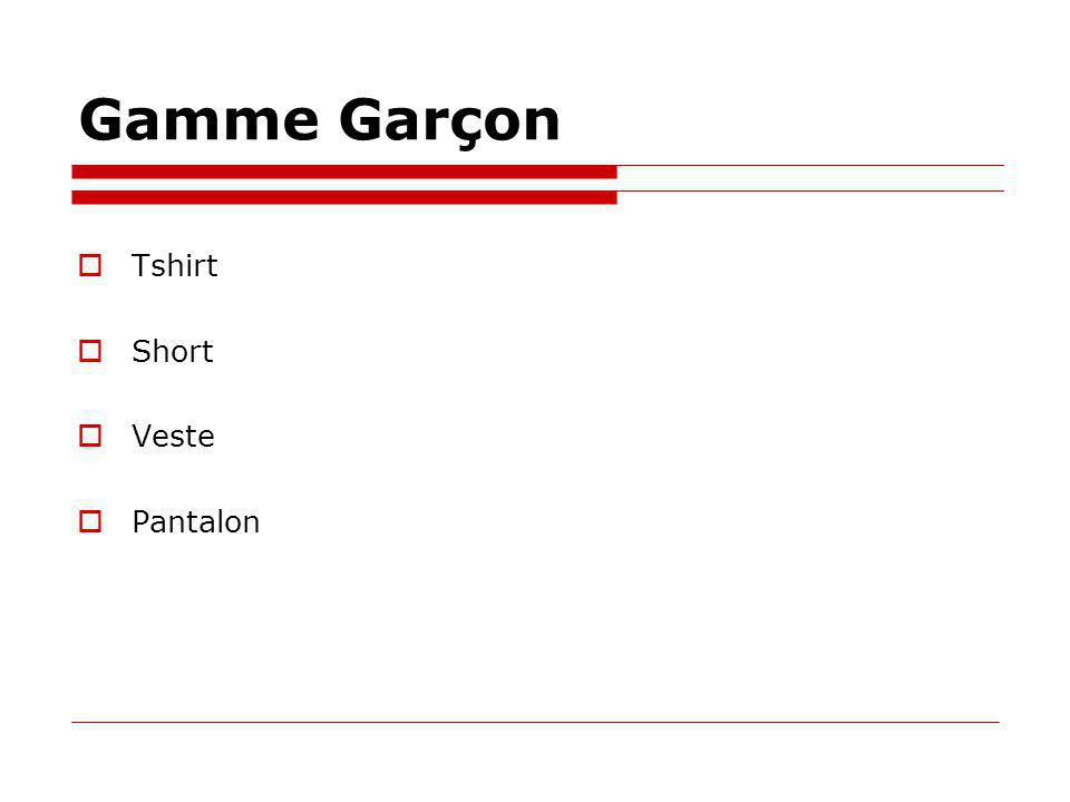 Gamme Garçon Tshirt Short Veste Pantalon