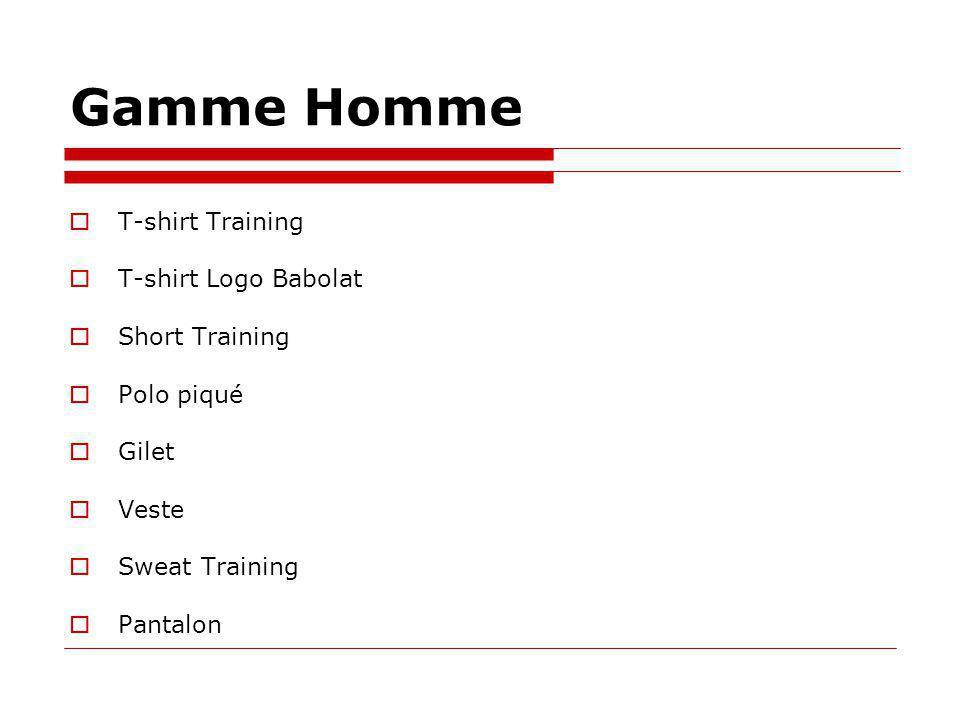 Gamme Homme T-shirt Training T-shirt Logo Babolat Short Training Polo piqué Gilet Veste Sweat Training Pantalon