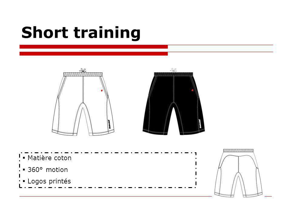 Short training Matière coton 360° motion Logos printés