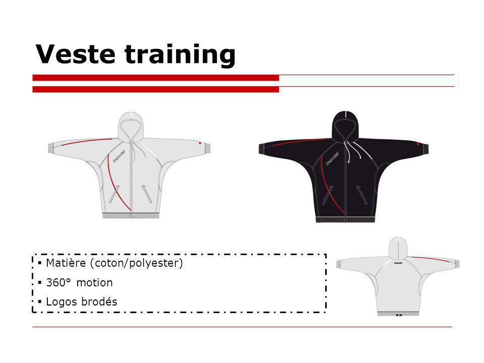 Veste training Matière (coton/polyester) 360° motion Logos brodés