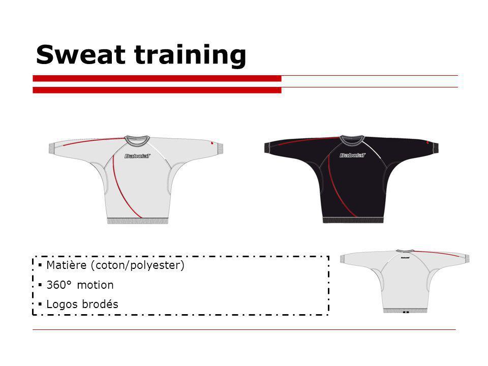 Sweat training Matière (coton/polyester) 360° motion Logos brodés