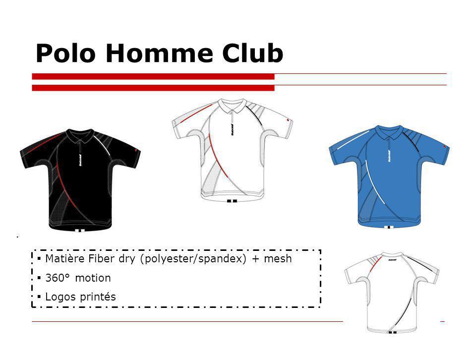 Polo Homme Club Matière Fiber dry (polyester/spandex) + mesh 360° motion Logos printés