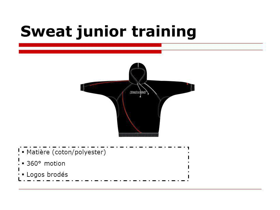 Sweat junior training Matière (coton/polyester) 360° motion Logos brodés