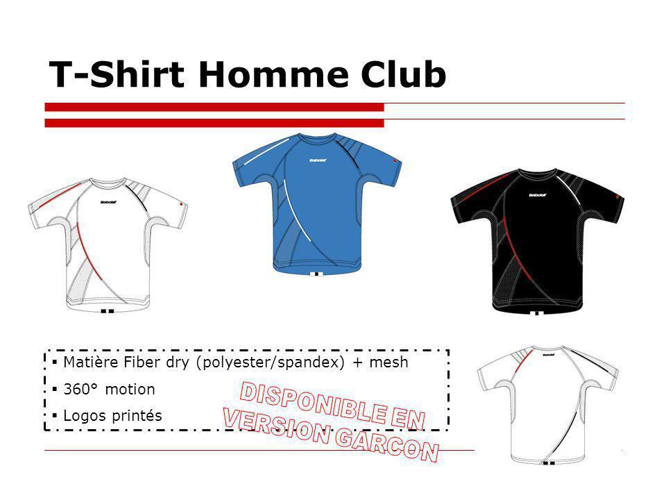 T-Shirt Homme Club Matière Fiber dry (polyester/spandex) + mesh 360° motion Logos printés