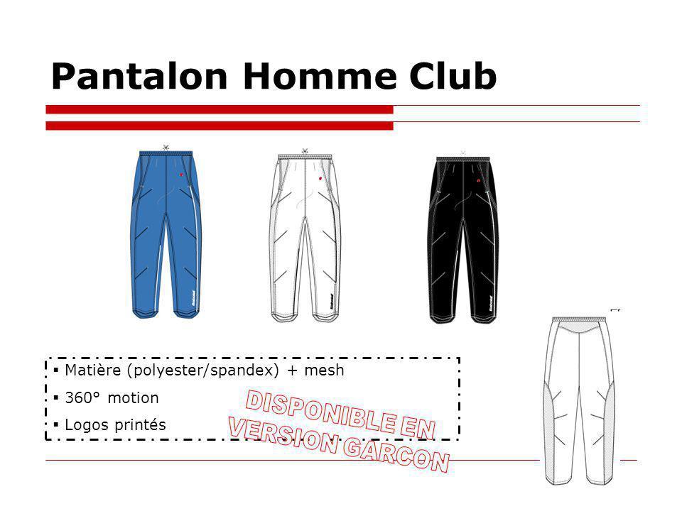 Pantalon Homme Club Matière (polyester/spandex) + mesh 360° motion Logos printés