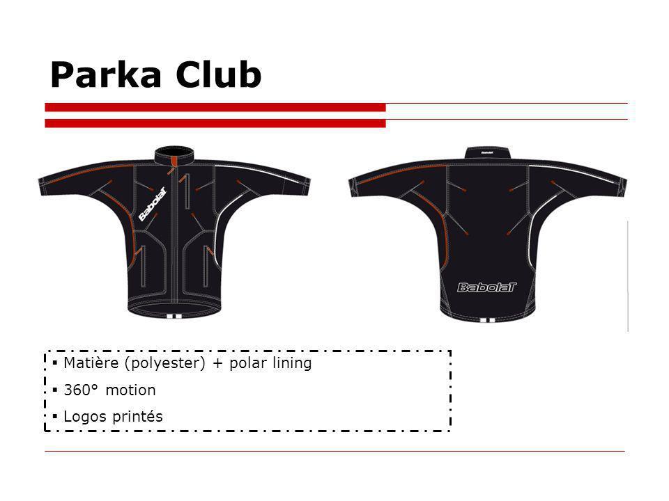 Parka Club Matière (polyester) + polar lining 360° motion Logos printés