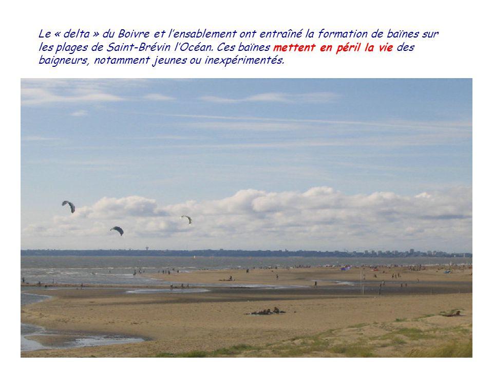 Le « delta » du Boivre et lensablement ont entraîné la formation de baïnes sur les plages de Saint-Brévin lOcéan.