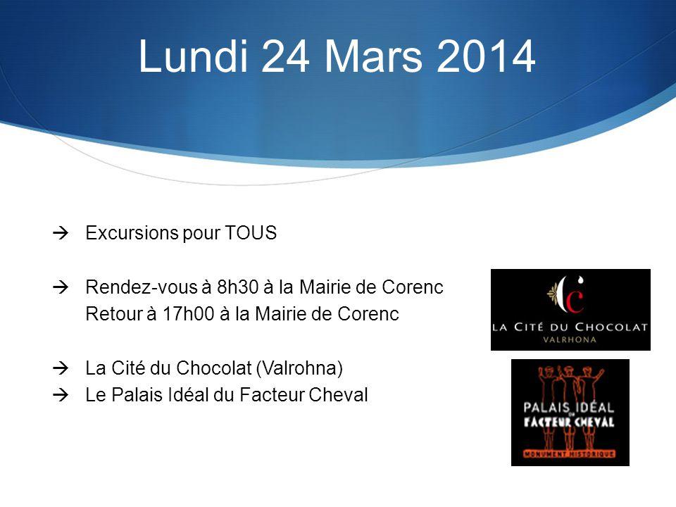 Excursions pour TOUS Rendez-vous à 8h30 à la Mairie de Corenc Retour à 17h00 à la Mairie de Corenc La Cité du Chocolat (Valrohna) Le Palais Idéal du Facteur Cheval Lundi 24 Mars 2014