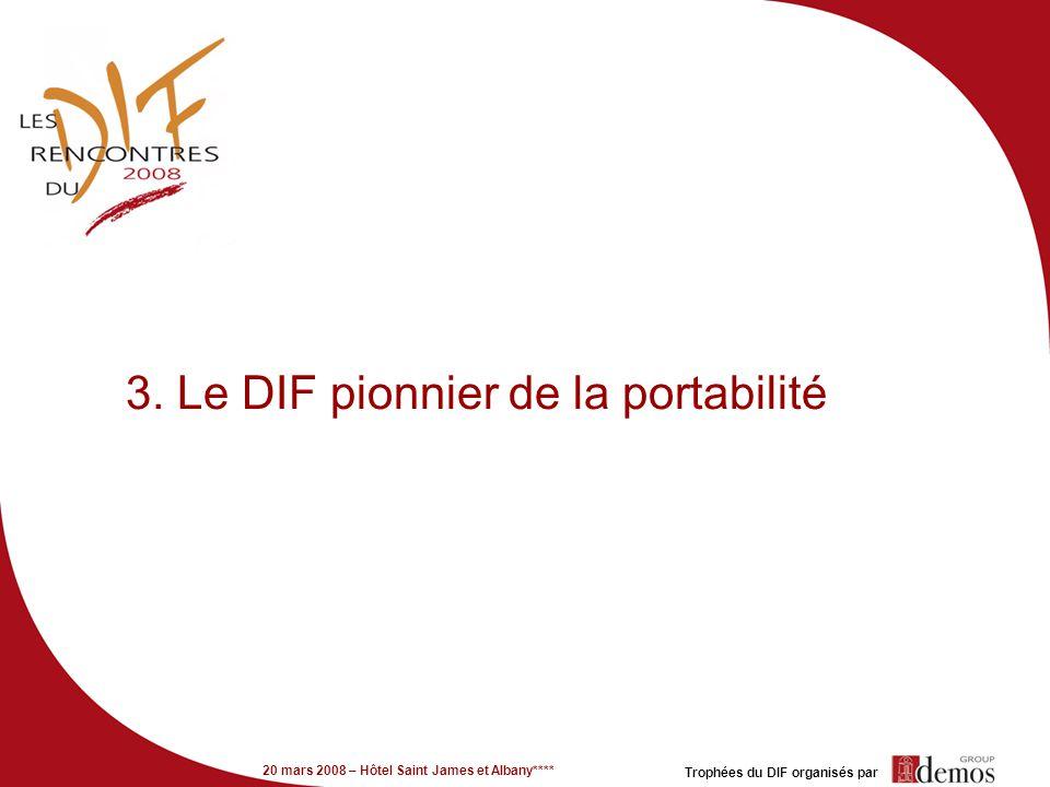 20 mars 2008 – Hôtel Saint James et Albany**** Trophées du DIF organisés par 3. Le DIF pionnier de la portabilité