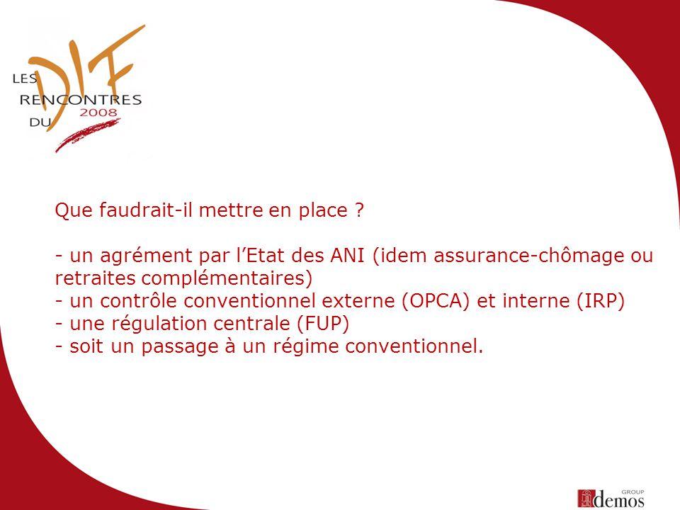 Que faudrait-il mettre en place ? - un agrément par lEtat des ANI (idem assurance-chômage ou retraites complémentaires) - un contrôle conventionnel ex