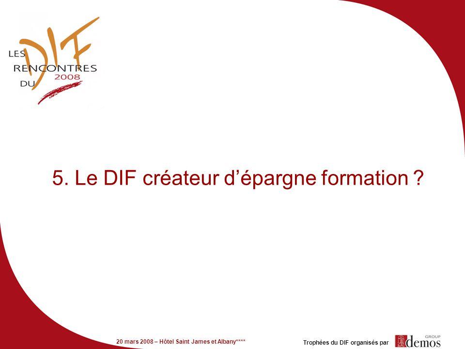 20 mars 2008 – Hôtel Saint James et Albany**** Trophées du DIF organisés par 5. Le DIF créateur dépargne formation ?