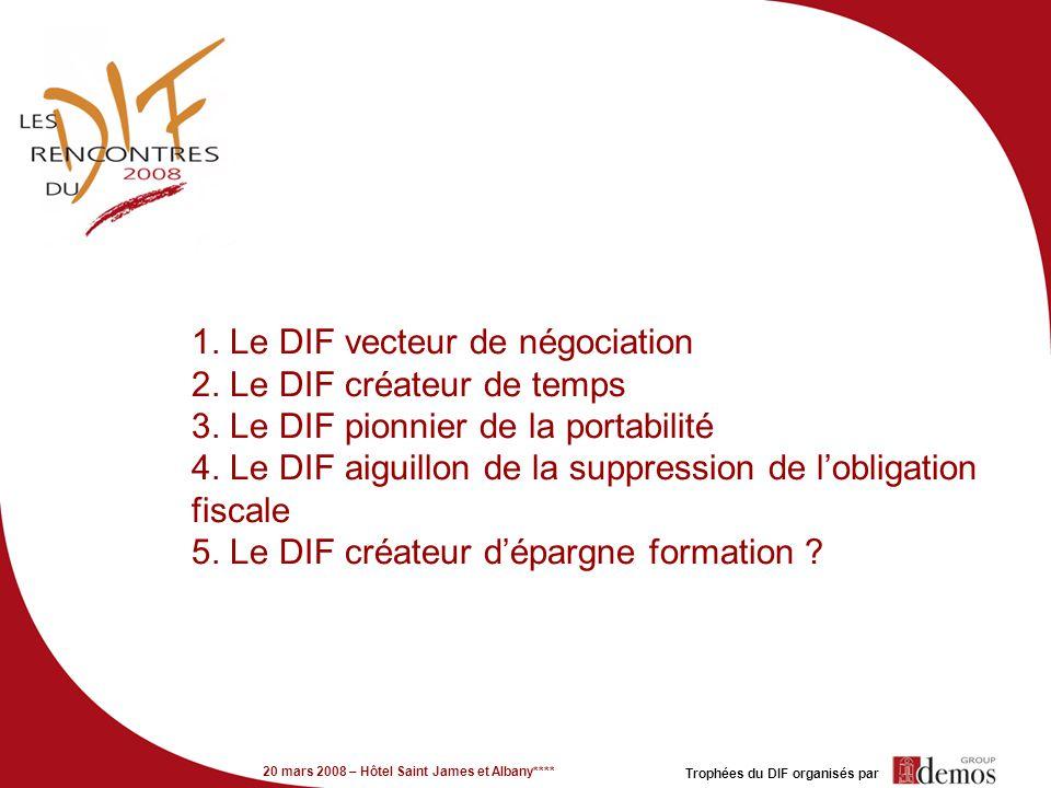 20 mars 2008 – Hôtel Saint James et Albany**** Trophées du DIF organisés par 1. Le DIF vecteur de négociation 2. Le DIF créateur de temps 3. Le DIF pi