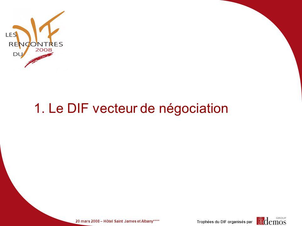 20 mars 2008 – Hôtel Saint James et Albany**** Trophées du DIF organisés par 1. Le DIF vecteur de négociation