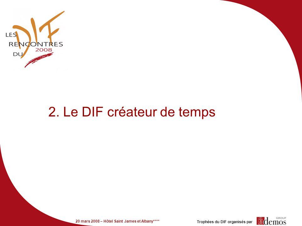20 mars 2008 – Hôtel Saint James et Albany**** Trophées du DIF organisés par 2. Le DIF créateur de temps