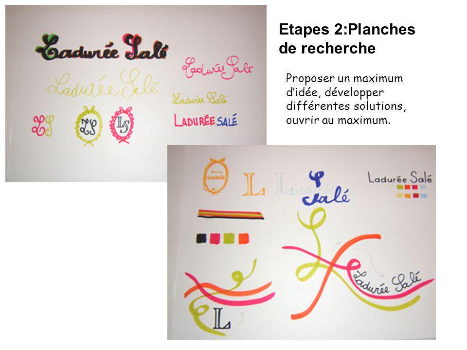 Etapes 2:Planches de recherche Proposer un maximum didée, développer différentes solutions, ouvrir au maximum.
