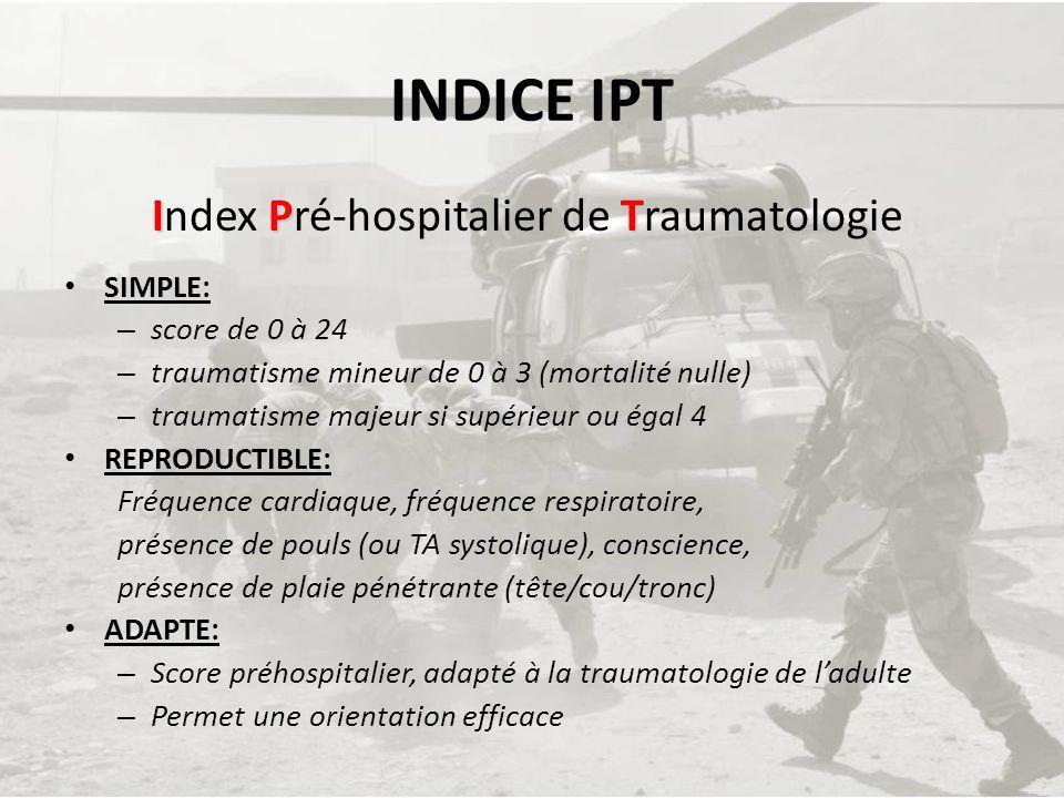 INDICE IPT IPT Index Pré-hospitalier de Traumatologie SIMPLE: – score de 0 à 24 – traumatisme mineur de 0 à 3 (mortalité nulle) – traumatisme majeur s