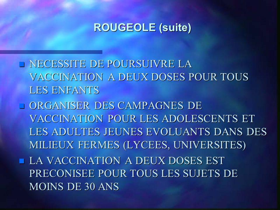 ROUGEOLE (suite) n NECESSITE DE POURSUIVRE LA VACCINATION A DEUX DOSES POUR TOUS LES ENFANTS n ORGANISER DES CAMPAGNES DE VACCINATION POUR LES ADOLESC