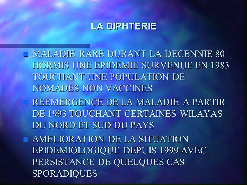 LA DIPHTERIE n MALADIE RARE DURANT LA DECENNIE 80 HORMIS UNE EPIDEMIE SURVENUE EN 1983 TOUCHANT UNE POPULATION DE NOMADES NON VACCINES n REEMERGENCE D