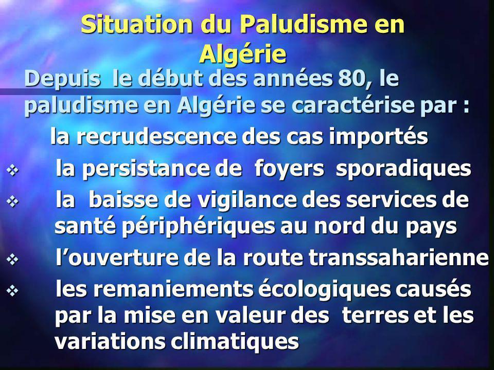 Situation du Paludisme en Algérie Depuis le début des années 80, le paludisme en Algérie se caractérise par : la recrudescence des cas importés la rec
