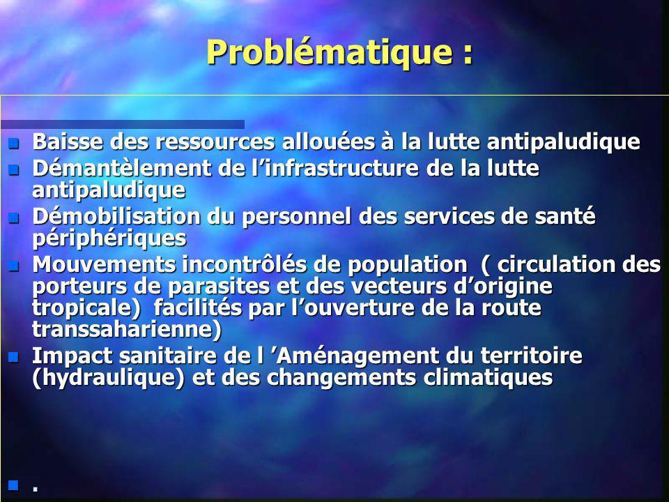 Problématique : Problématique : n Baisse des ressources allouées à la lutte antipaludique n Démantèlement de linfrastructure de la lutte antipaludique