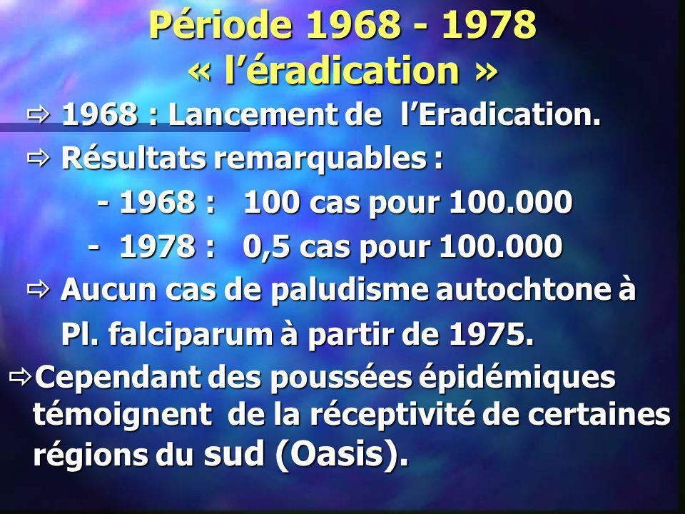 Période 1968 - 1978 « léradication » 1968 : Lancement de lEradication. 1968 : Lancement de lEradication. Résultats remarquables : Résultats remarquabl